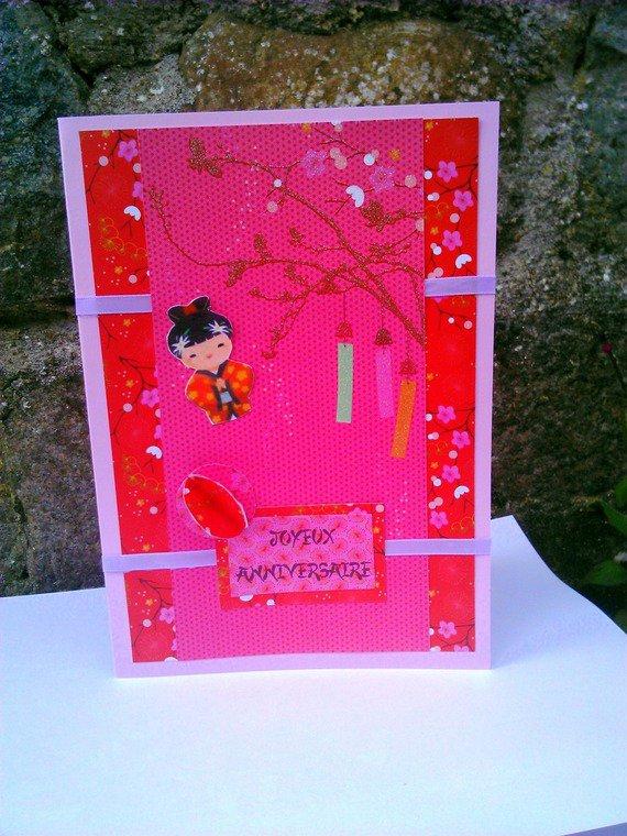 carte pour anniversaire faite main japonisante : Cartes par del-crea-fete