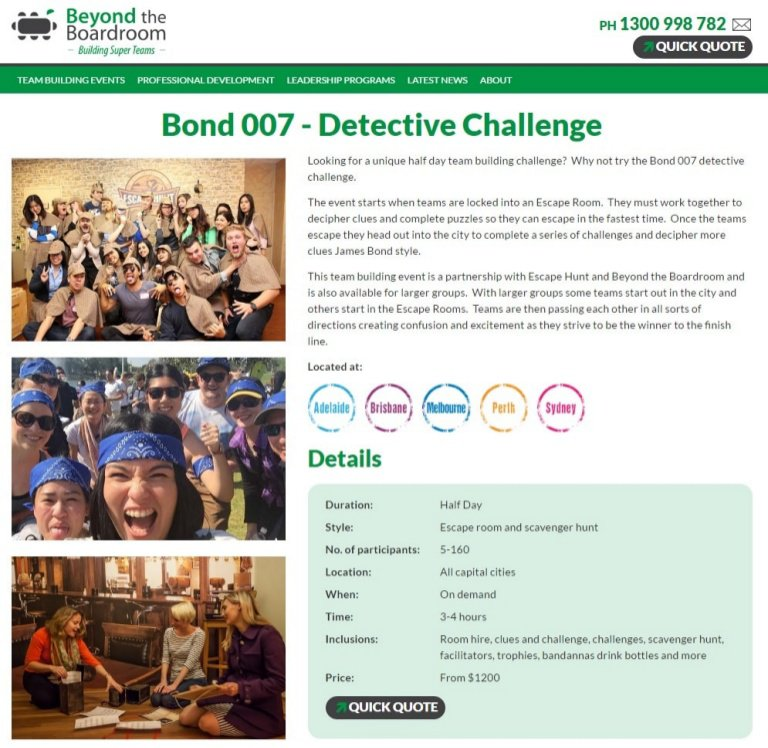 "The Great Escape Team Building Sydney ""Bond Challenge"""