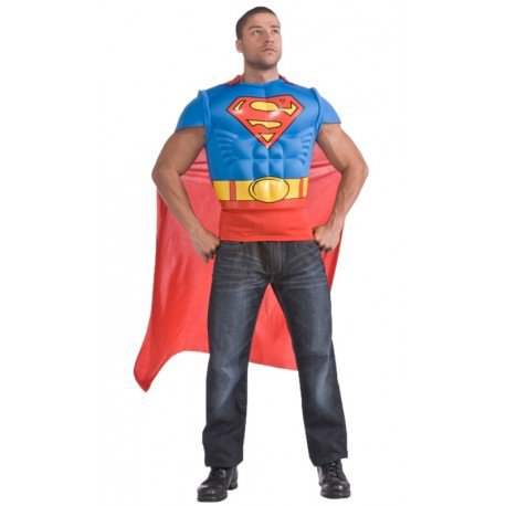 Déguisement Superman adulte T-Shirt avec cape : Déguisements Superman