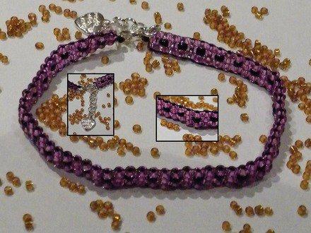 Bracelet perles de rocailles rose & noir