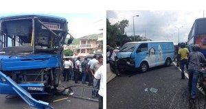 Accident à Pailles: Violente Collision Entre un Autobus de la CNT et Deux Véhicules