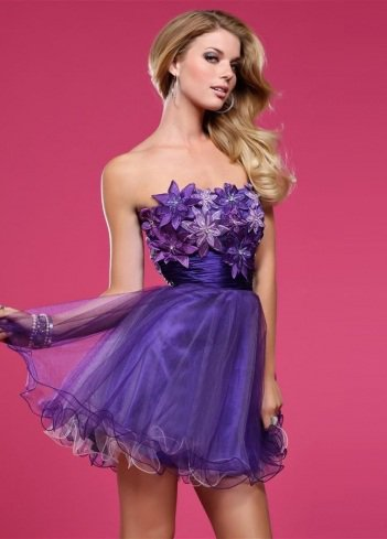 2011 Style A-line Strapless Hand-Made Flower Sleeveless Short / Mini Organza Purple Cocktail Dress / Homecoming Dress