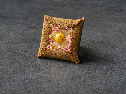 Bague galette bretonne en fimo réglable