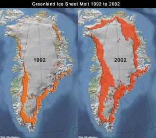 Fonte des glace au groenlande