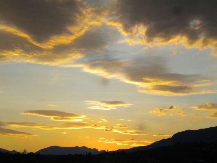 coucher d soleil sur les Alpes