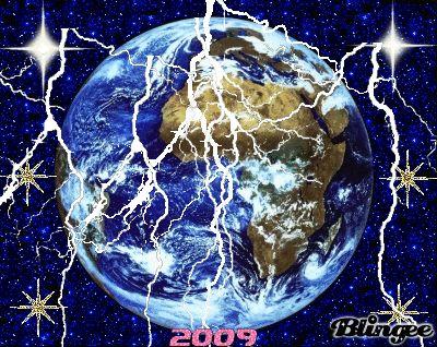 la terre  sous eclair