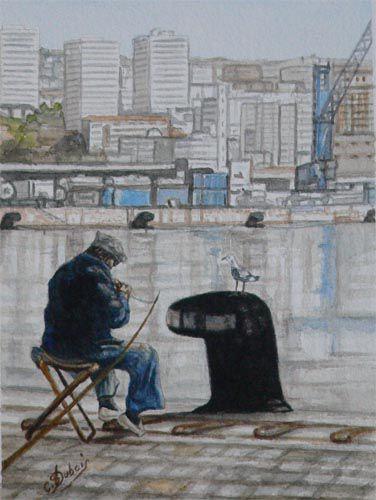 Le pêcheur du port de MARSEILLE  Aquarelle sur papier Arches