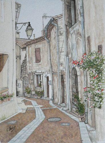 une rue de PUIMISSON autour du Chateau (Aquarelle)
