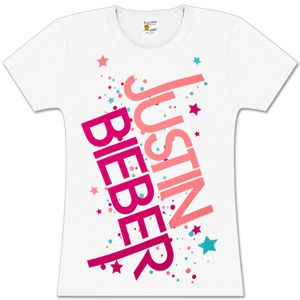 Justin Bieber Star Logo Girls Fitted White T-Shirt