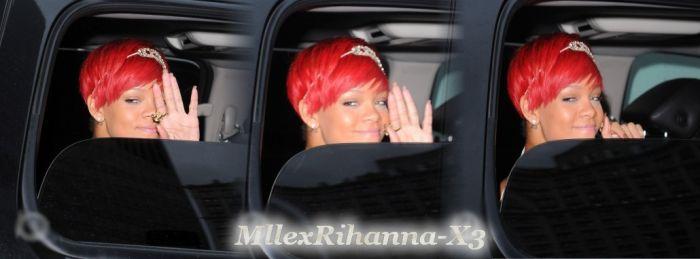 Rihanna sort de son hôtel à NY .