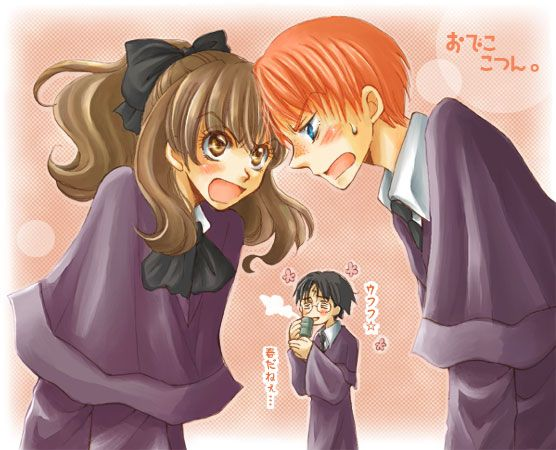 Hermione et Ron et au fond Harry