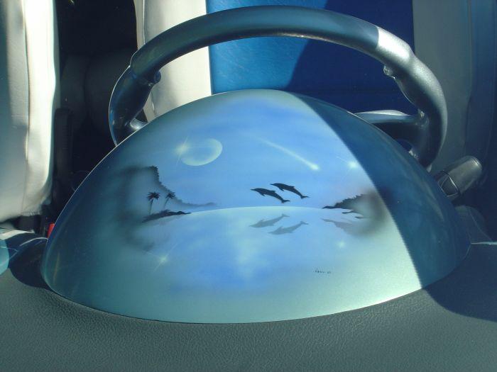 aerographe sur la bulle de compteur