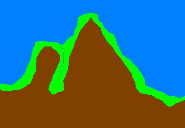 quelle belle montagne hein fils?oui papa!