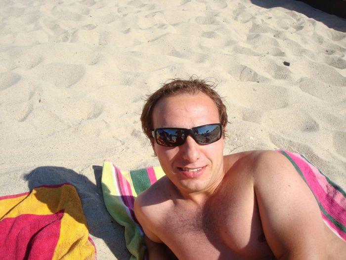 eu na praia