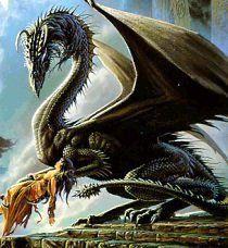 Le dragon vert, le sauveur de la femme endormi dans sa main.
