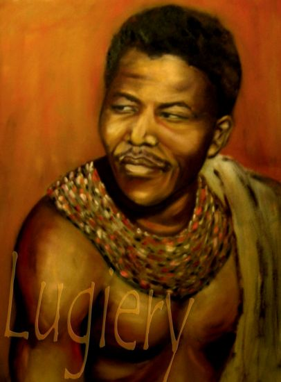 Nelson Mandela ; Huile sur carton entoilé