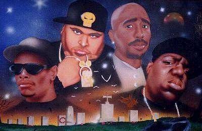 les legendes du rap  eazy-e  big bun 2pac et biggie