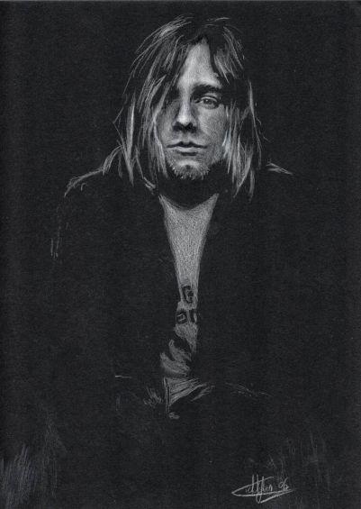Kurt Cobain portrait crayon blanc sur feuille noir