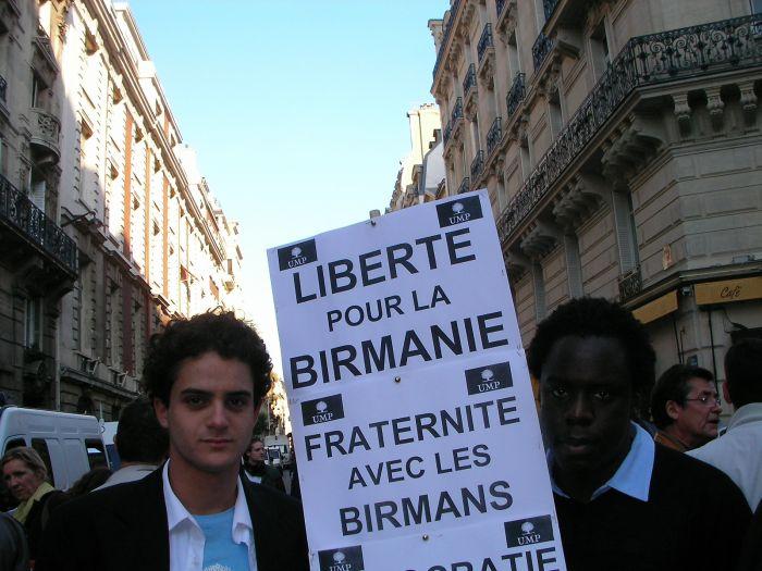 moi et stéphane, manif' UMP pour la démocratie en Birmanie