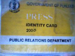 BACK SIDE OF ID OF PRESS FROM PUBLIC RELATION DEPARTMENT
