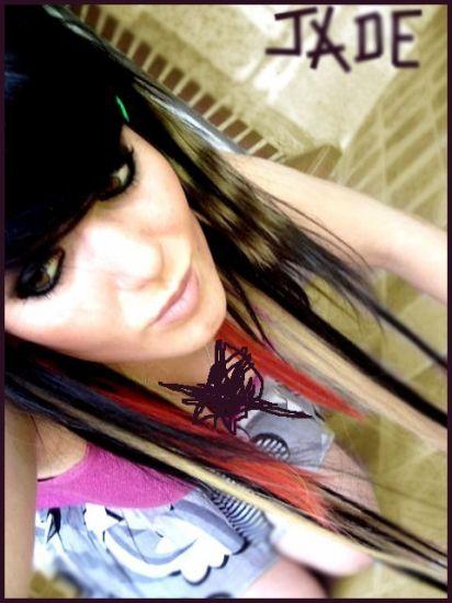 Rajouts rouge ,noir , blond + meche zébré