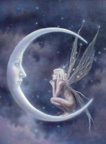 Fée chantant une berceuse à la Lune