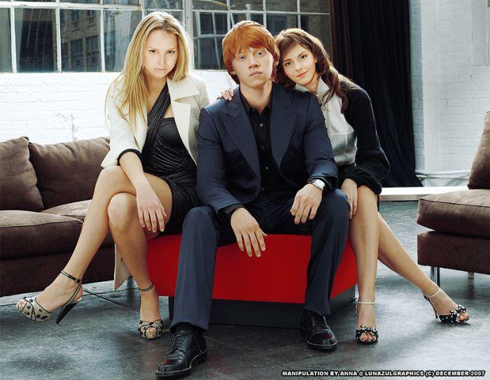 Lavande , Ron et Hermione