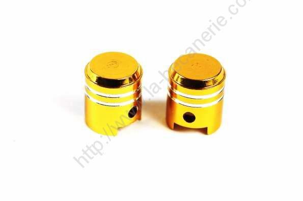 bouchon de valves piston dorés