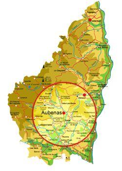 situation de la ville d'Aubenas et son agglomération