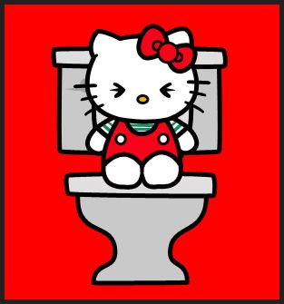 Hello Kitty aux chiottes °(≧∇≦)°