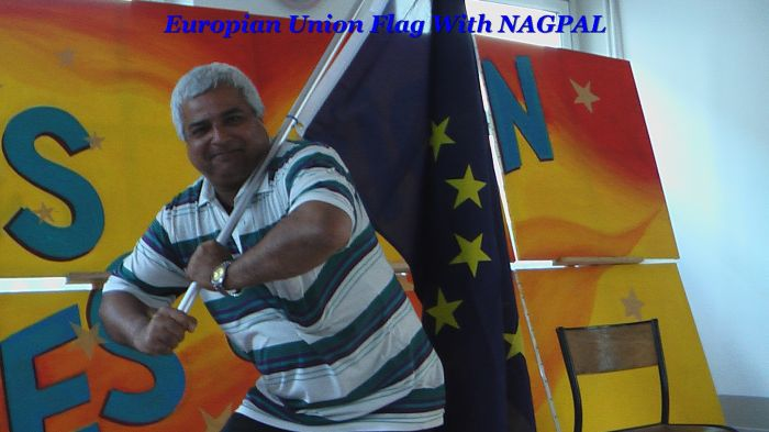 Dharamvir Nagpal With European Flag in the Time of PlayDrama