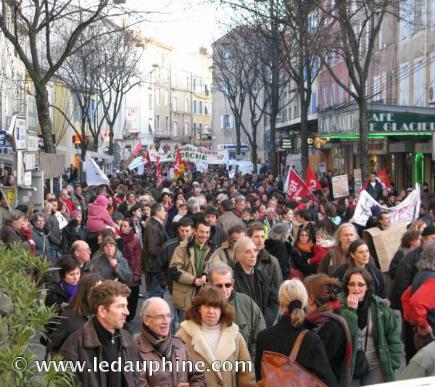 manifestation à Aubenas le 29 janvier 2009. 3500 personnes!