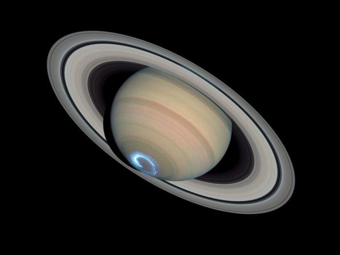 Saturne avec une Aurore boréale