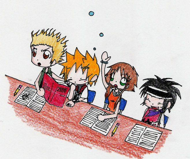 Hayner,Roxas,Olette et Pence à l'école.