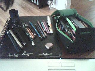 Mon matériel pour dessiner : crayons de couleur, feutres...